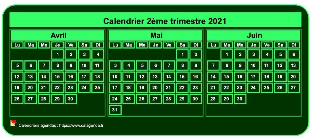 Calendrier 2ème Trimestre 2021 Calendrier 2021 à imprimer trimestriel, format mini de poche, fond