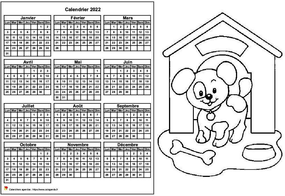 Coloriage Calendrier 2022 Calendrier 2022 à colorier annuel, format paysage, pour enfants