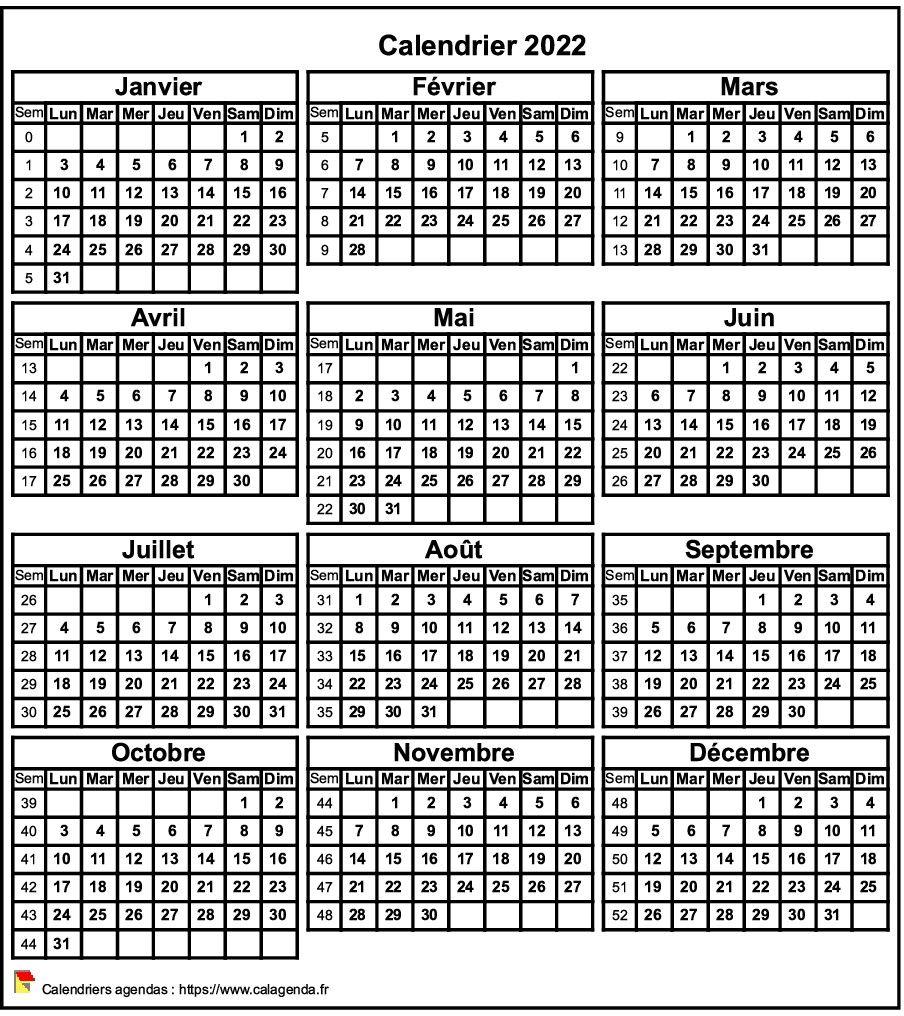 Mini Calendrier 2022 Calendrier 2022 format portrait