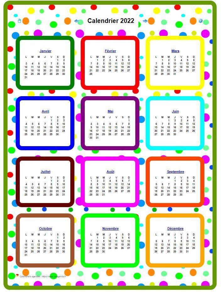Calendrier 2022 annuel en couleurs