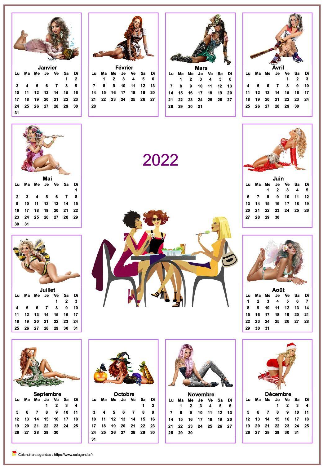 Calendrier 2022 annuel tubes femmes