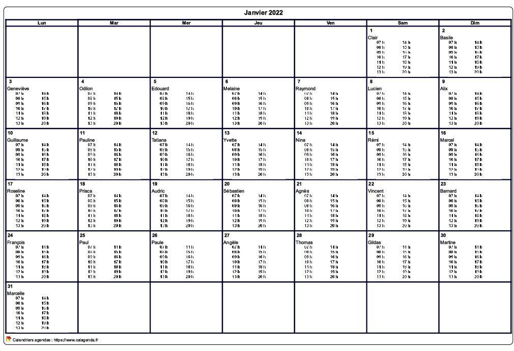 Calendrier Mensuel 2019 Et 2022 à Imprimer Calendrier mensuel 2022 à imprimer vierge, avec les horaires dans