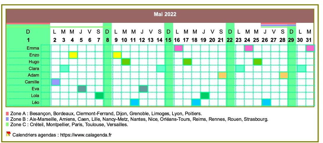 Planning Calendrier 2022 Calendrier 2022 planning horizontal mensuel
