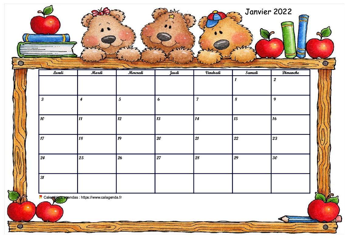 Calendrier Mois Janvier 2022 Calendrier mensuel 2022 école maternelle