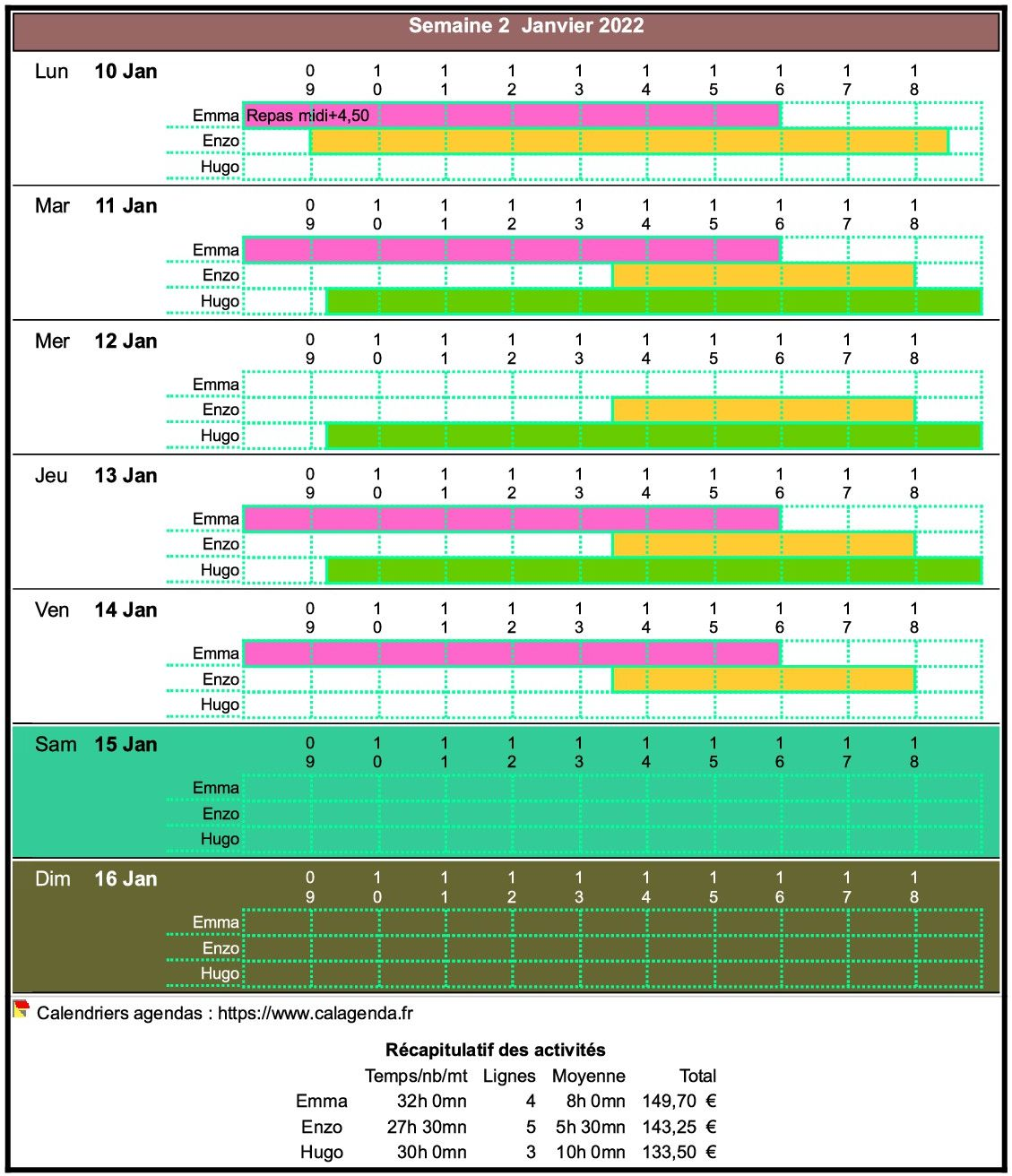 Planning assistante maternelle hebdomadaire vertical