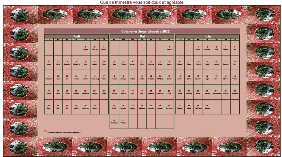 Calendrier 1er Trimestre 2022 Calendrier 2022 à imprimer décoratif trimestriel, format paysage