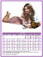 Calendrier tubes femmes du mois de janvier