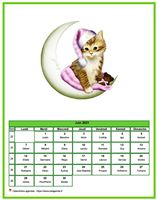 Calendrier mensuel chat