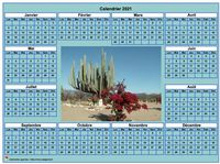Calendrier photo annuel cyan, format paysage, sous-main ou mural