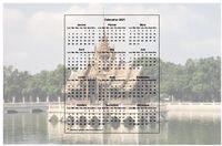 Calendrier annuel à imprimer, format paysage, 3 colonnes 4 lignes, incrusté au milieu de la photo