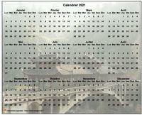 Calendrier annuel à imprimer, format paysage, 4 colonnes, 3 lignes, au dessus de la photo