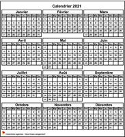 Calendrier annuel, format mini de poche, 3 colonnes, une ligne par trimestre.