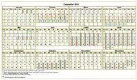 Calendrier annuel, format paysage, avec les vacances scolaires