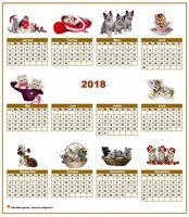Calendrier annuel avec des chats
