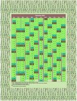 Calendrier 2015 annuel, 12 colonnes, motif vert, avec les vacances scolaires