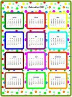 Calendrier 2015 annuel en couleurs