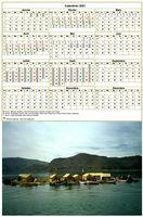 Calendrier 2015 annuel avec photo, une ligne par trimestre, format portrait