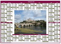 Calendrier annuel style poste format paysage