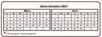 Calendrier bimestriel, format mini de poche, horizontal, fond blanc