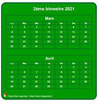 Calendrier bimestriel, format mini de poche, vertical, fond vert