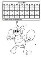 Calendrier 2014 mensuel à colorier