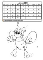 Calendrier mensuel � colorier