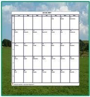 Calendrier � imprimer mensuel vierge, avec les f�tes, blanc, format portrait, avec une photo