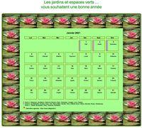 Calendrier 2014 mensuel, cadre avec motifs nénuphars