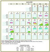 Calendrier planning mensuel en tableau