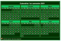 Calendrier semestriel, format mini de poche, vert