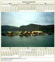 Modèle par défaut du calendrier agenda semestriel, avec photographie au centre.
