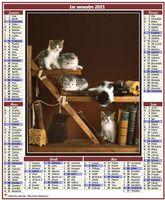 Calendrier semestriel de style poste en format portrait