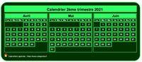 Calendrier � imprimer trimestriel, format mini de poche, vert