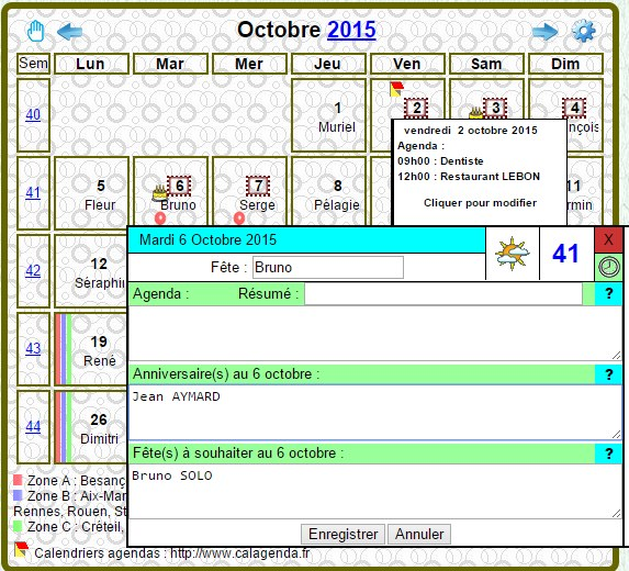 Affichage complet du calendrier