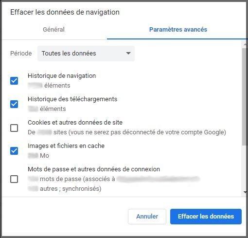 Suppression des données privées, cookies, mots de passe, avec Google Chrome