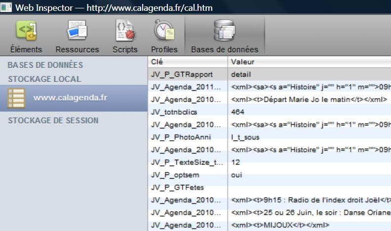 Accés aux données de stockage du site avec Safari